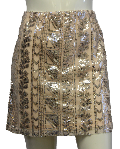 Light Peach Aztec Print Sequin Skirt (SKU 000004)