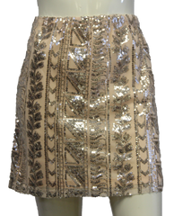 Light Peach Aztec Print Sequin Skirt (SKU 000004) - Designers On A Dime - 1