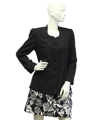 Black Pearls Embellished Blazer Size 8 (SKU 000046) - Designers On A Dime - 1