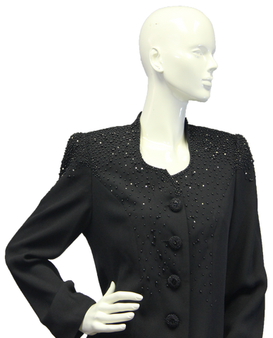 Black Pearls Embellished Blazer Size 8 (SKU 000046)