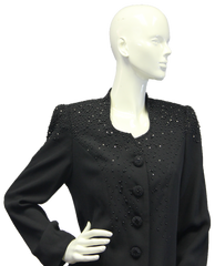 Black Pearls Embellished Blazer Size 8 (SKU 000046) - Designers On A Dime - 2