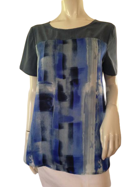 Calvin Klein Top Multi Colored Blues Size M (SKU 000209)