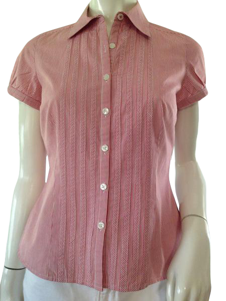 Ann Taylor Top Red and White Pinstriped size 4 P SKU 000209