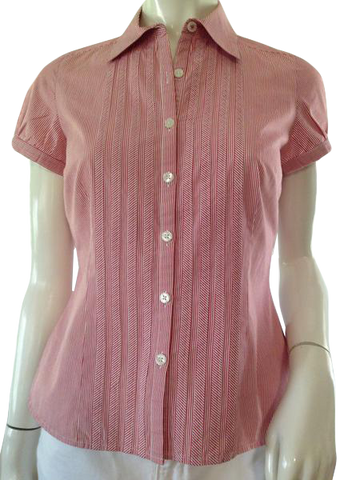 Ann Taylor LOFT red & white pinstriped tailored button down front top with short sleeves size 4 petite (SKU 000209)