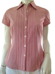 Ann Taylor Top Red and White Pinstriped size 4 P (SKU 000209)
