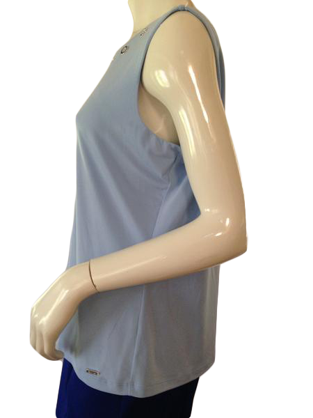 Calvin Klein sleeveless light blue top with silver accents around scoop neck size extra large (SKU 000209)