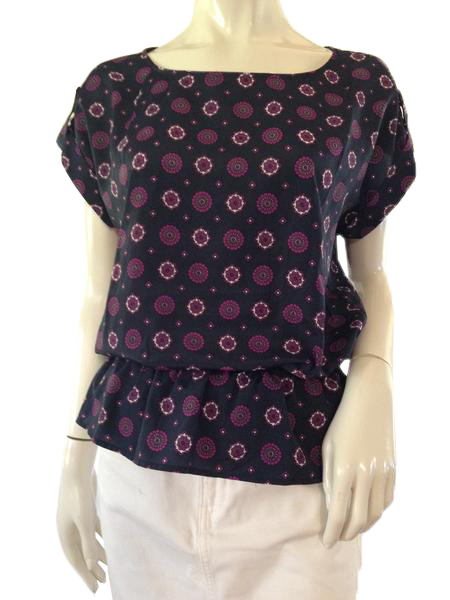 Michael Kors Top Dark Blue with Floral Design Size M (SKU 000209)