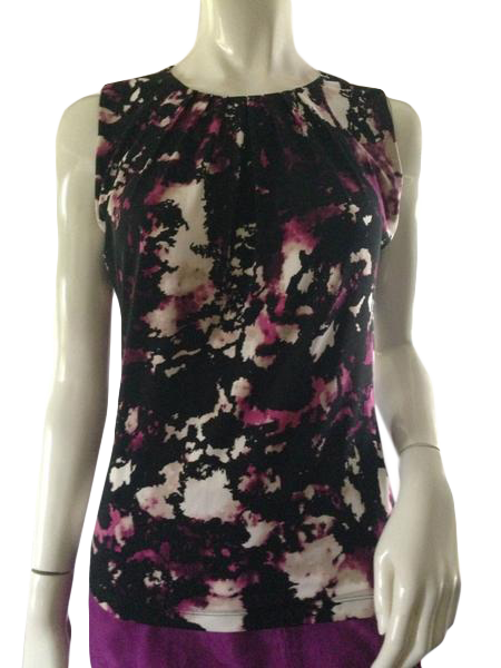 Calvin Klein Top Black Multi Colored Print Size Small (SKU 000209)