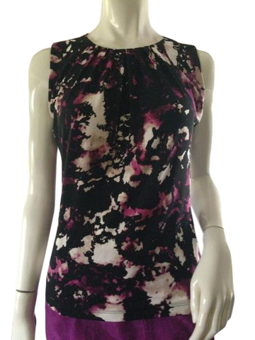 Calvin Klein pleated scoop neck sleeveless top size small (SKU 000209)