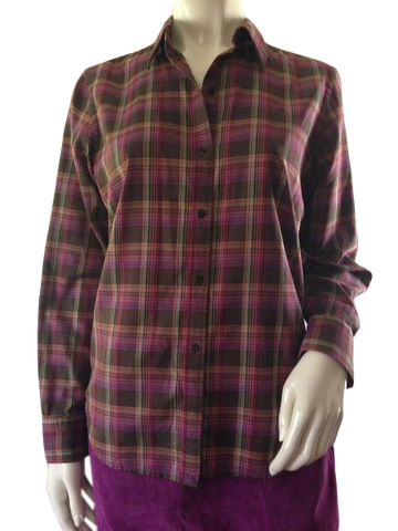 Ralph Lauren plaid long sleeve shirt in fall colors size Medium (SKU 000209)