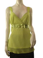 Sexy Lime green top with sequin and glitter size large (SKU 000209)