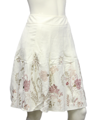 Ann Taylor Off White Embroidered Flower Skirt Size 8P (SKU 000013) - Designers On A Dime - 1