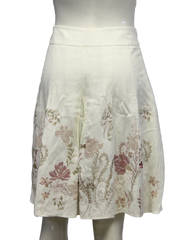 Ann Taylor Off White Embroidered Flower Skirt Size 8P (SKU 000013) - Designers On A Dime - 3