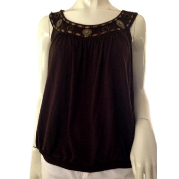 Michael Kors Top Brown With Beaded Neck Size Large (SKU 000209)