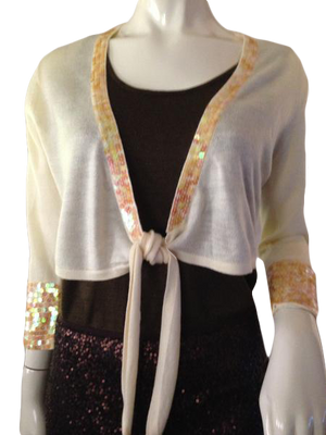 New York & Company crop sweater with tie front and sequins size S/M (SKU 000210)