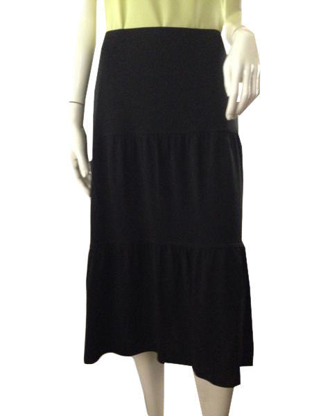 Ann Taylor LOFT flowing below-knee black three tier elastic waist skirt Size S (SKU 000210)
