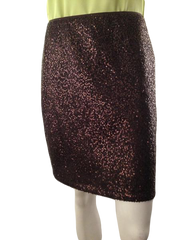 Ann Taylor above the knee brown/bronze sequins skirt size 6 (SKU 000210)