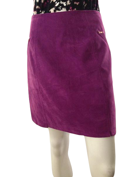 Mink Pink  Purple faux suede skirt above knee length  size medium (SKU 00210)
