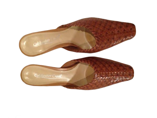 Coldwater Creek leather basket weave design slides size 61/2 M (SKU 000210)