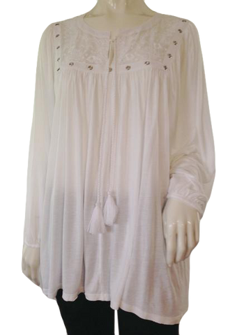 Chico's white flowing long sleeve pull-over top size 3 (SKU 010000-1-4)
