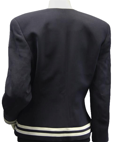 Ellen Tracy Navy Blue Sailor V Neck Cropped Jacket Sz 10 (SKU 000042)