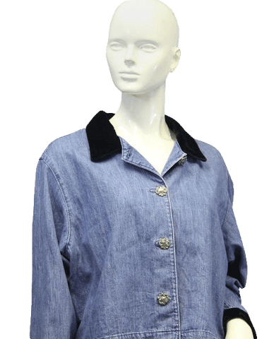 DENIM BLAZER Velvet Collar and Cuffs Size 14 (SKU 000002)