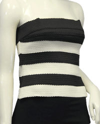 Black and White No Taming Me Tube Top Size M (SKU 000024)