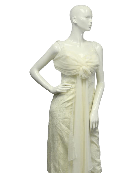 60's Creme Long Formal Dress Size 5/6 (SKU 000079)