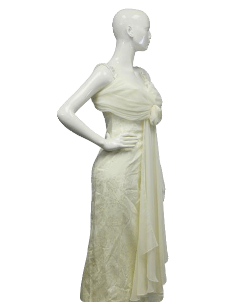 Creme Long Formal Dress Size 5/6 (SKU 000079)
