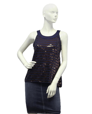 H & M 90's Top Navy Sequin Razorback Size Small SKU 000025