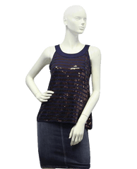 Navy Sequin Racerback Glimmer Me Top Size Small (SKU 000025)