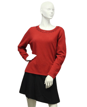 Red Sweetheart Embellished Sweater Size L (SKU 000087)