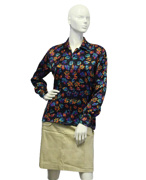 Escada 70's Silk Print Blouse Size 6 SKU 000005