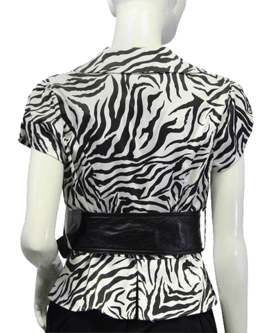 Animal Print Black and White Top Size Large (SKU 000081)