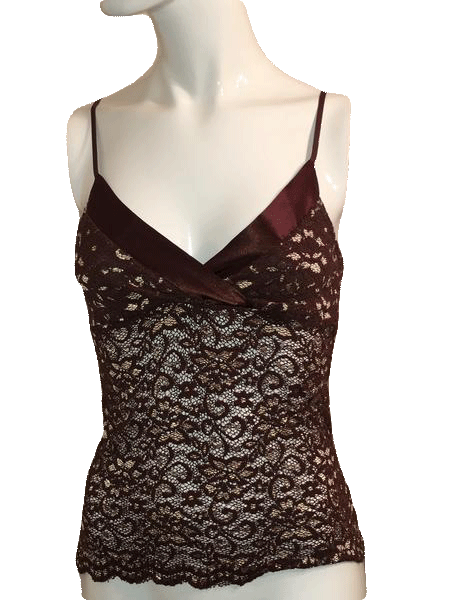 Designers on a Dime Brown and Beige Lace Tank Top  Size S SKU 000170