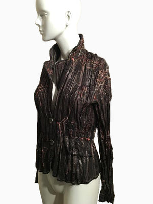 Alberto Makail Bronze Metallic Long Sleeve Shirt  with Large Collar and Buttons Size M SKU 000170