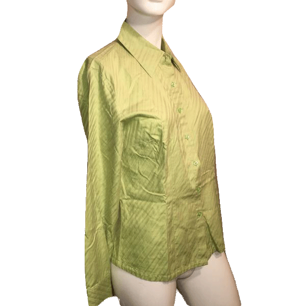 Talbots Lime Green Long Sleeve Shirt with Full Button Down Closure 100% Cotton Size 6 SKU 000170
