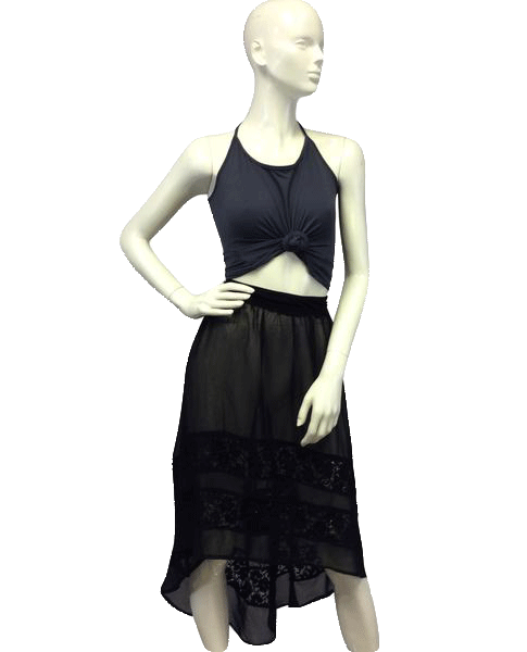 Maude Skirt Asymetrical Sheer Black Size S NWT SKU 000026