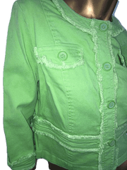 Live a Little Lime Green Denim Jean Long Sleeve Button Down Jacket Size L (SKU 000090)