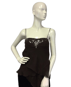 BCBG 80's Tank Top Sheer Into Silk Brown Size M SKU 000090
