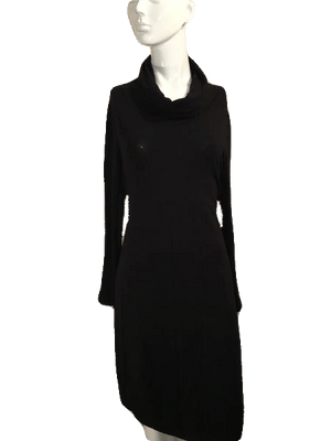 Chalet Black Dress Long Sleeve with Large Turtle Neck Style Collar Size M SKU 000201