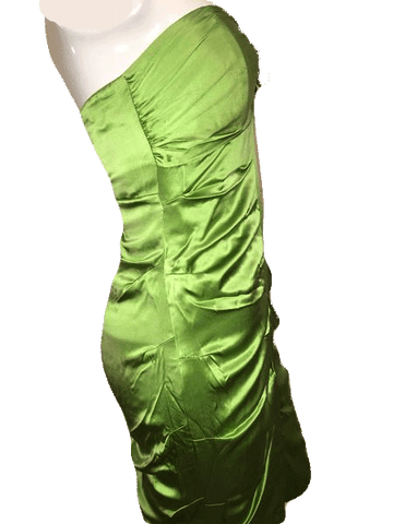 Nicole Miller 100% Silk Strapless Lime Green Fun Cocktail Dress Size 6 (SKU 000201)