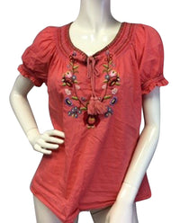 Bila Boho Embroidered Floral Top Size L (SKU 000081) - Designers On A Dime - 1