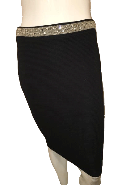 Zara Basic Black Mini Skirt with Jewel Bling on the Waist Band Size S SKU 000144