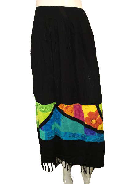 BOP Ankle Length Multi Color Skirt with Fringe Hem Size 4X SKU 000144