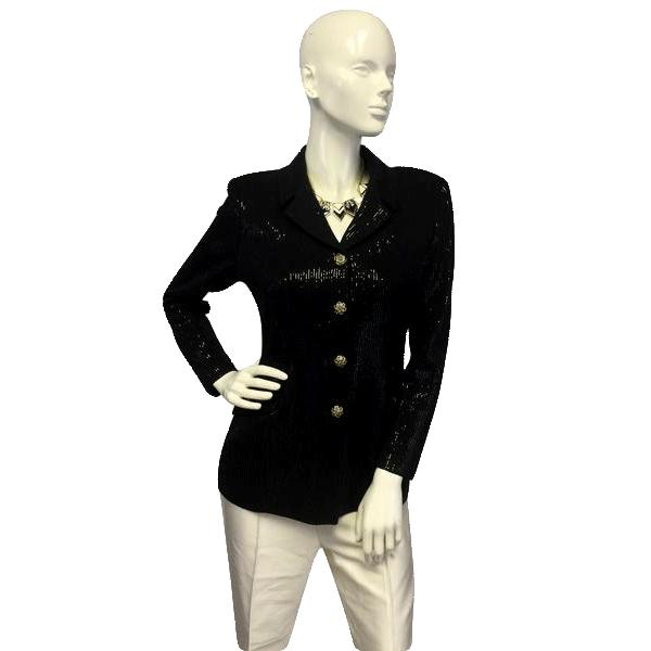 St. John Black Knit Sequin Blazer Size 4 (SKU 000057)