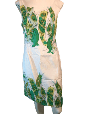 We Love Vera Sleeveless White with Green Designs A-Line Dress Size 6 SKU 000123