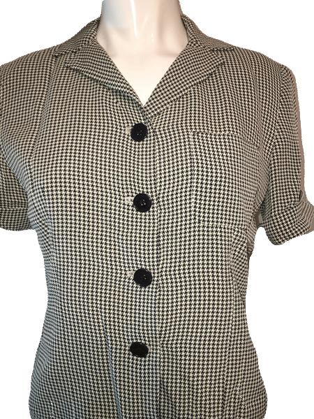 Ann Taylor Hounds Tooth Black and White 2 Piece Skirt and Jacket Size 2P (SKU 000123)