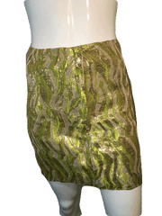 Crew Collection Metallic Gold, Lime Green, Beige Skirt Size 4 (SKU 000126)