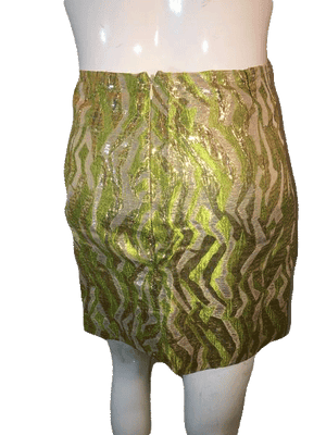 J. Crew Collection Metallic Gold, Lime Green, Beige Skirt Size 4 SKU 000126